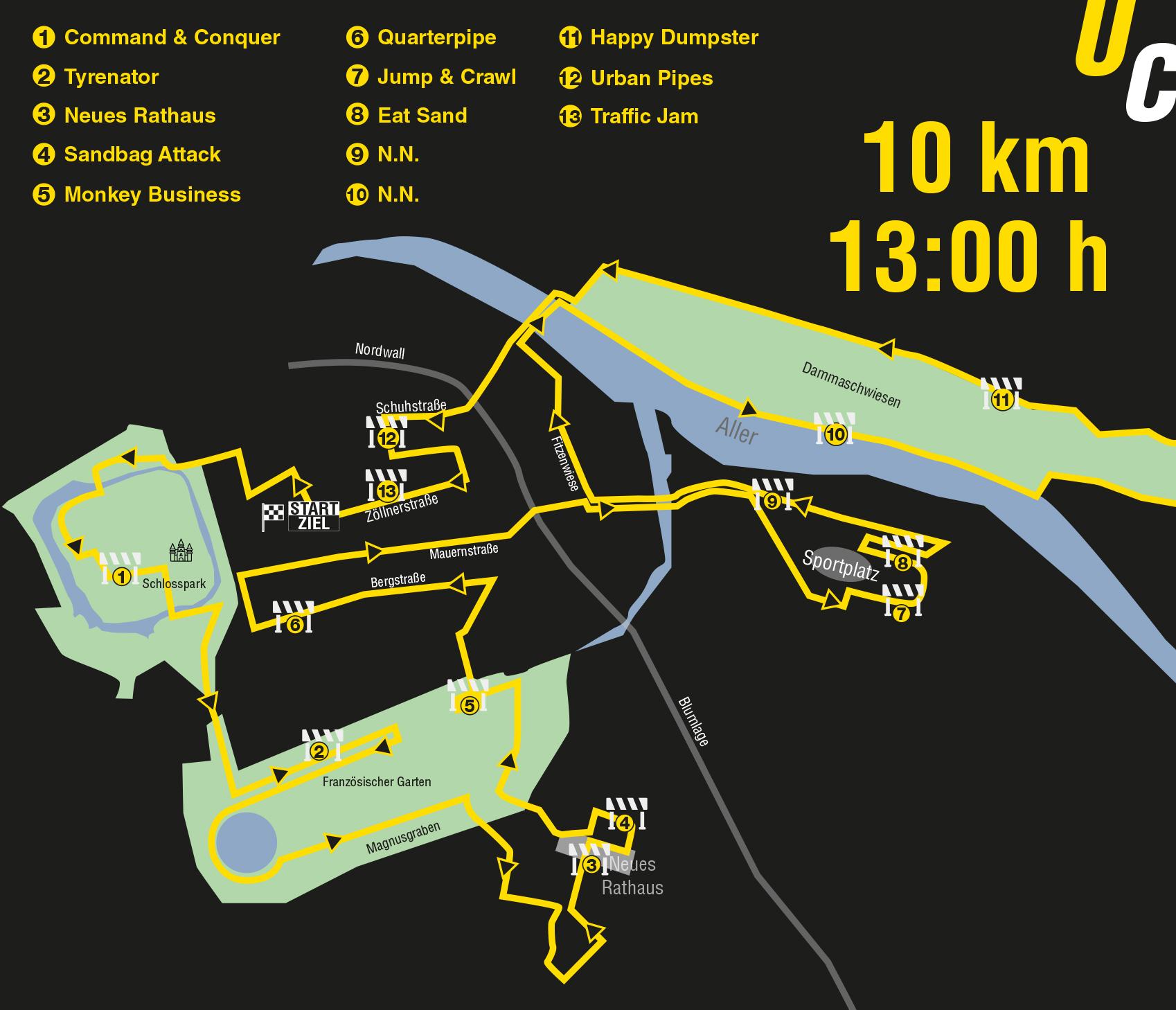 Urban Challenge Celle Strecke 10km